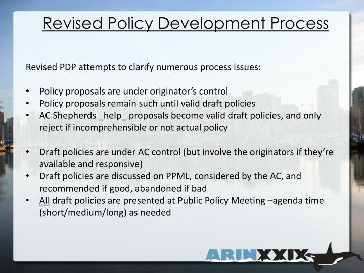 Revised Policy Development Process