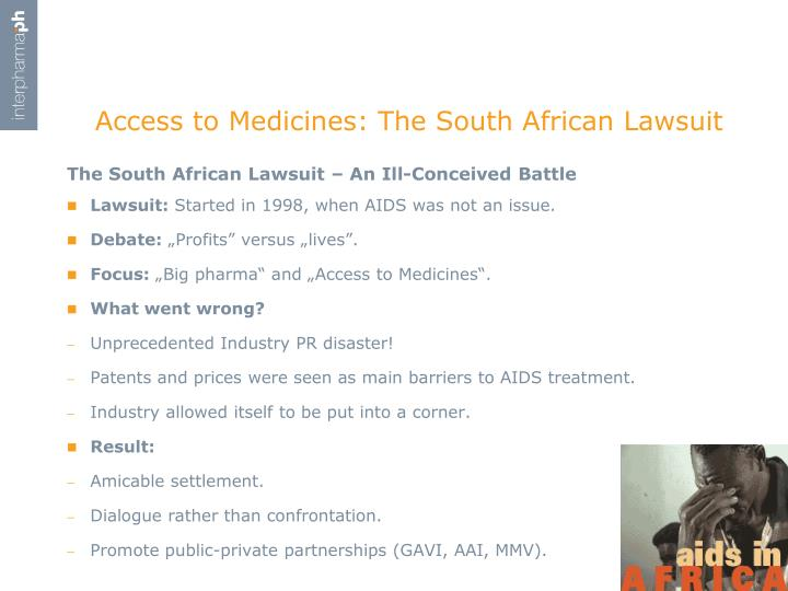 Access to medicines the south african lawsuit