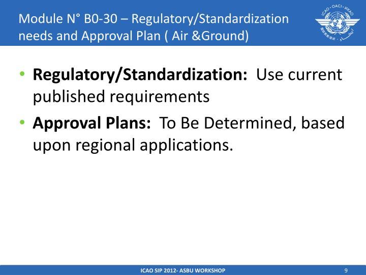 Module N° B0-30 – Regulatory/Standardization needs and Approval Plan ( Air &Ground)