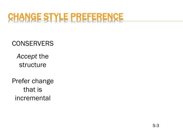 CHANGE STYLE PREFERENCE