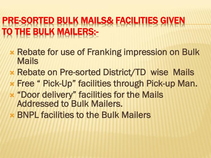 Rebate for use of Franking impression on Bulk Mails