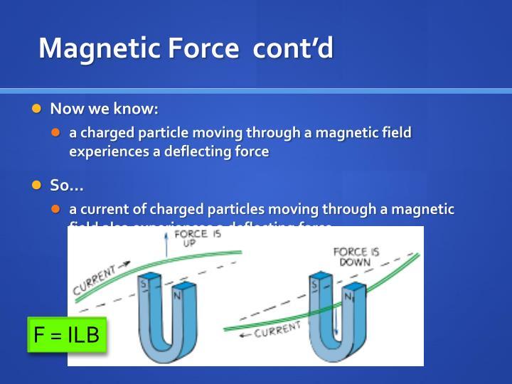 Magnetic Force  cont'd
