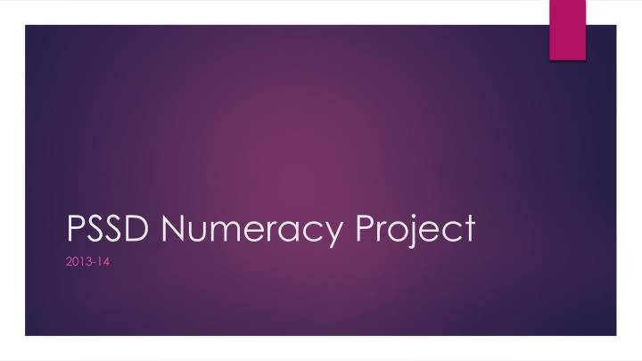 Pssd numeracy project