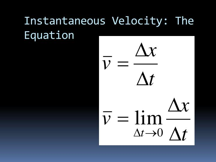 Instantaneous Velocity: The Equation