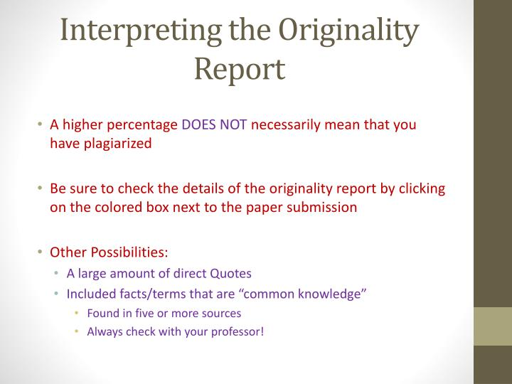 Interpreting the Originality Report