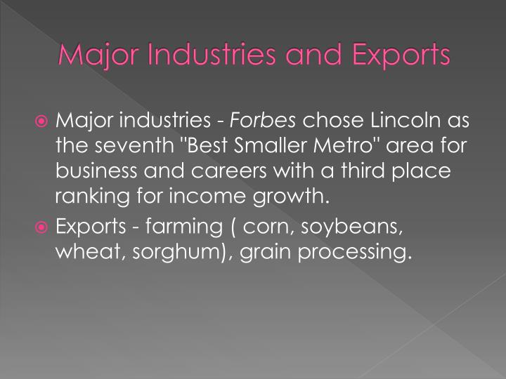 Major Industries and Exports