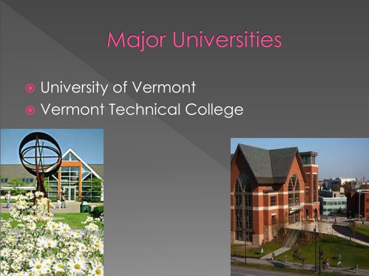 Major Universities