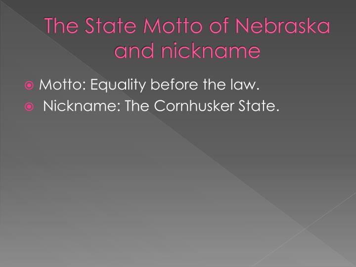 The State Motto of Nebraska