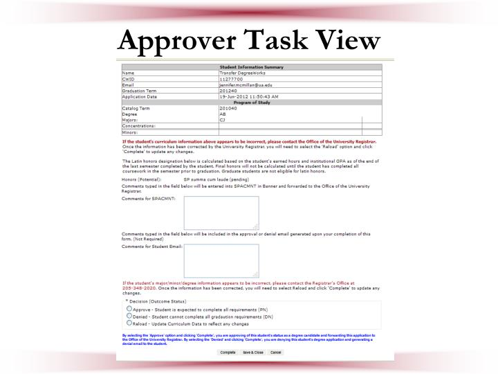 Approver Task View
