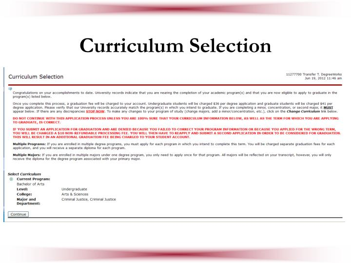 Curriculum Selection