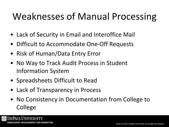 Weaknesses of Manual