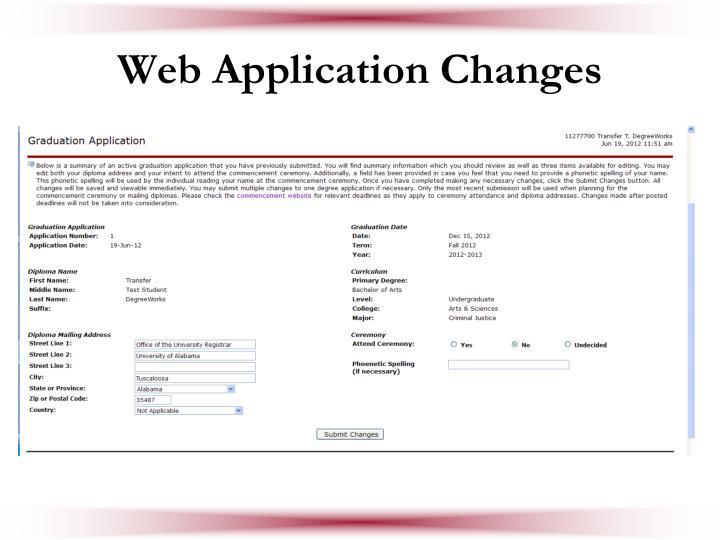Web Application Changes