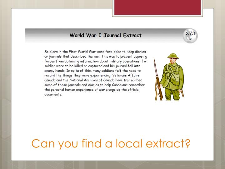 Can you find a local extract?