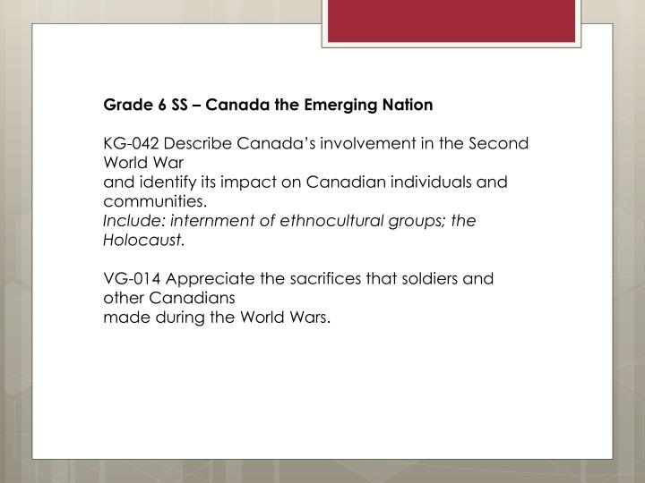 Grade 6 SS – Canada the Emerging