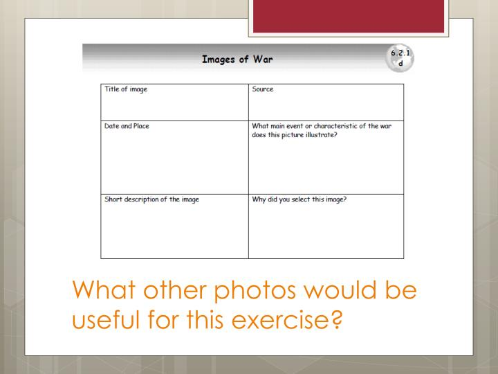 What other photos would be useful for this exercise?