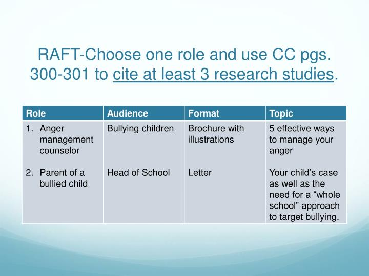 Raft choose one role and use cc pgs 300 301 to cite at least 3 research studies