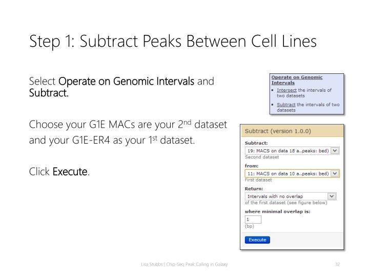 Step 1: Subtract Peaks Between Cell Lines