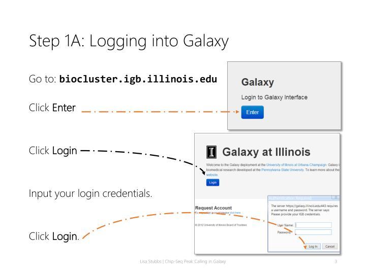 Step 1a logging into galaxy