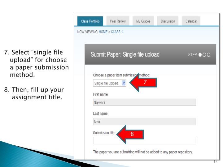 "7. Select ""single file"