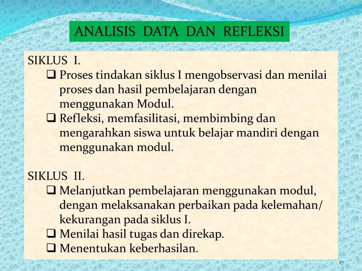 ANALISIS  DATA  DAN  REFLEKSI