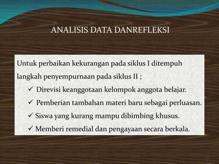 ANALISIS DATA DANREFLEKSI