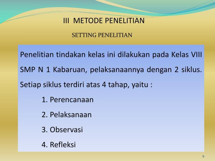 III  METODE PENELITIAN
