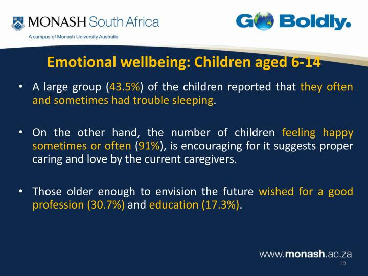 Emotional wellbeing: Children aged 6-14