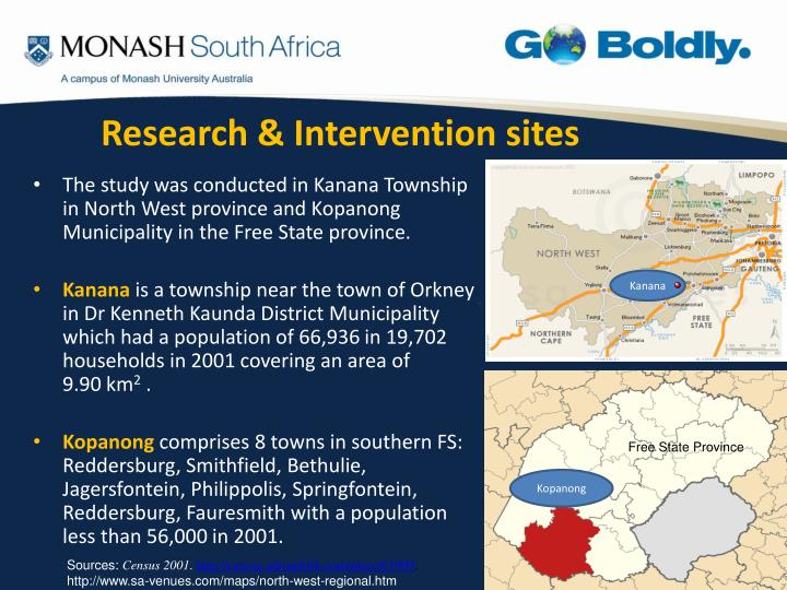 Research intervention sites