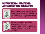 instructional strategies antecedent cue regulation