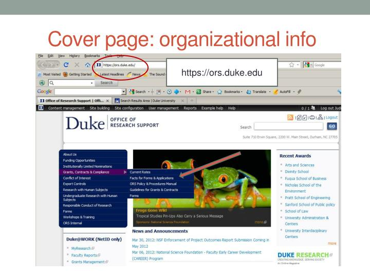 Cover page: organizational info