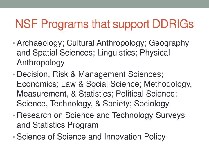 Nsf programs that support ddrigs