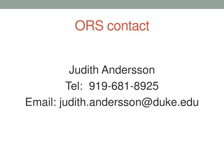 ORS contact