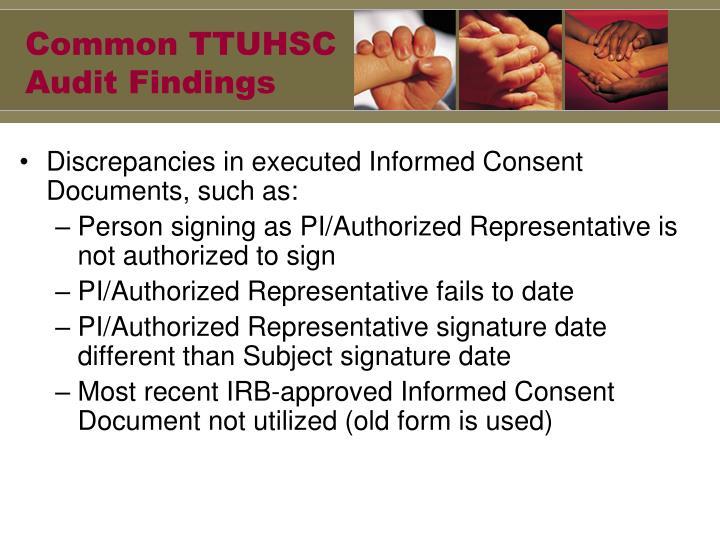 Common TTUHSC Audit Findings