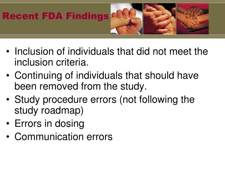 Recent FDA Findings