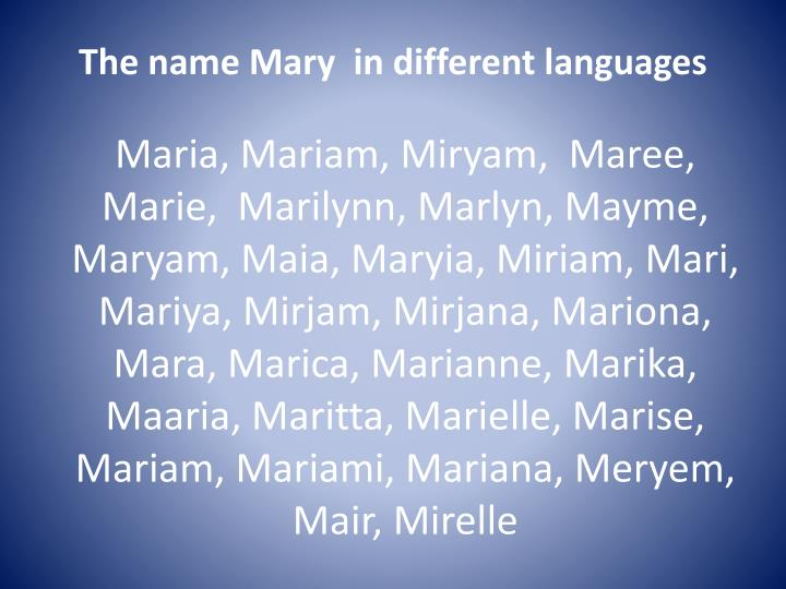 The name Mary