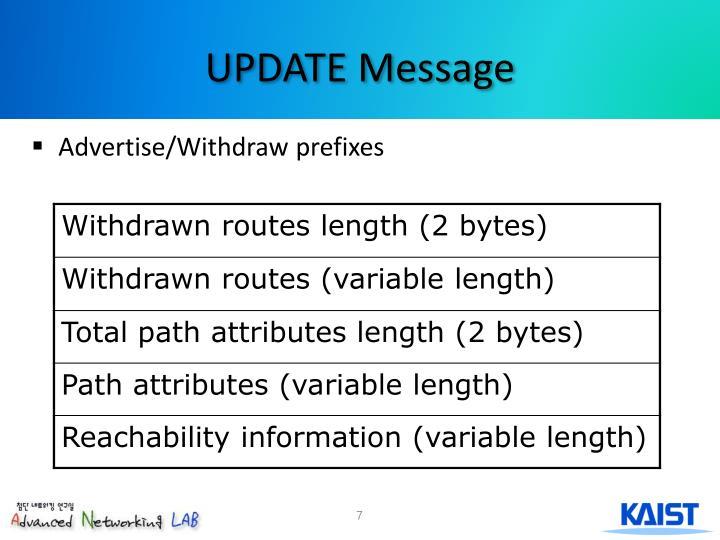 Advertise/Withdraw prefixes