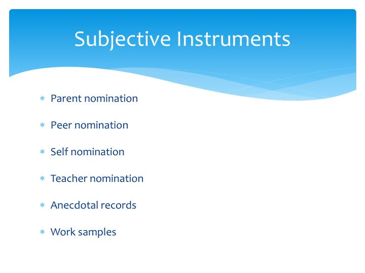 Subjective Instruments