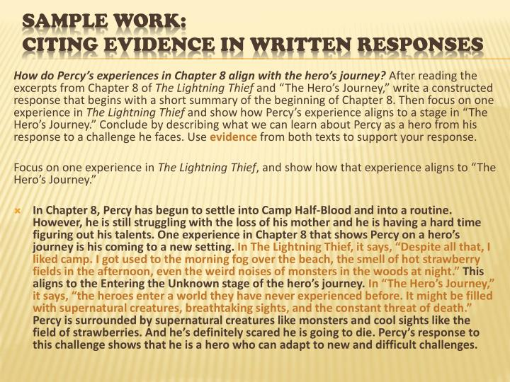 How do Percy's experiences in Chapter 8 align with the hero's journey?