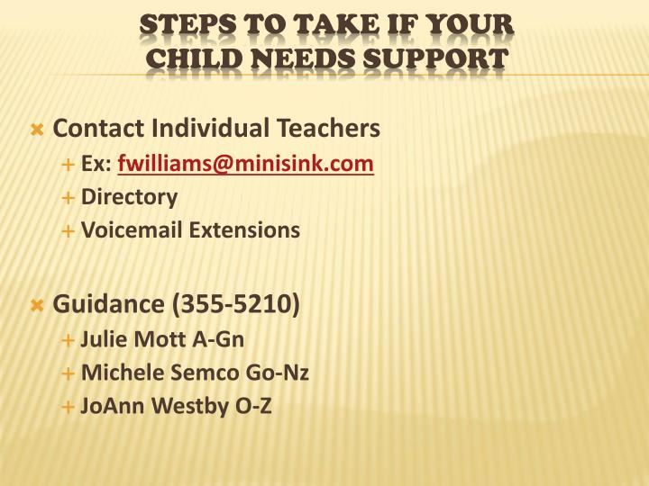Contact Individual Teachers