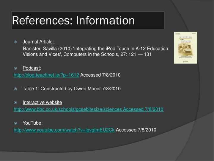 References: Information