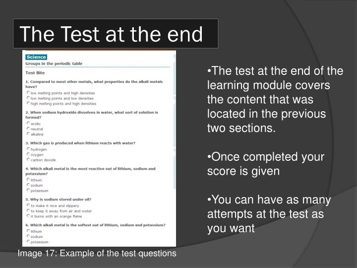 The Test at the end