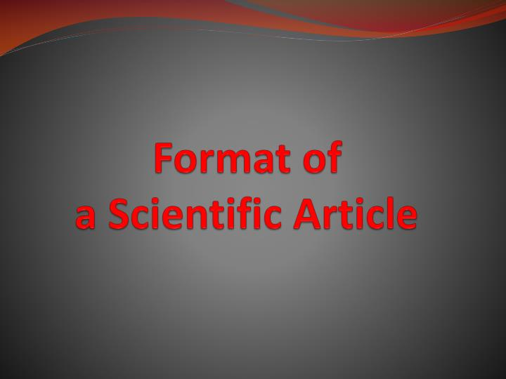 Format of