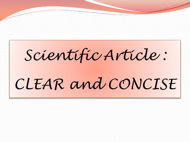 Scientific Article :