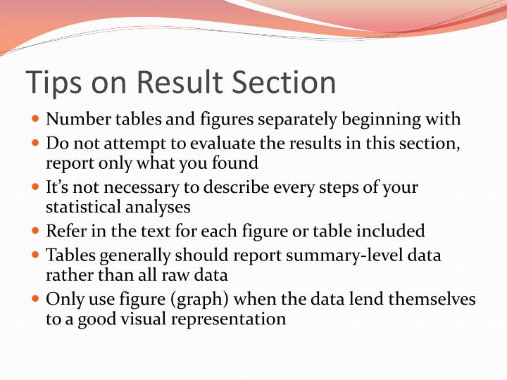 Tips on Result Section