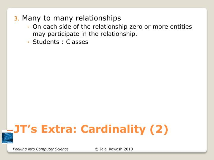 JT's Extra: Cardinality (2)