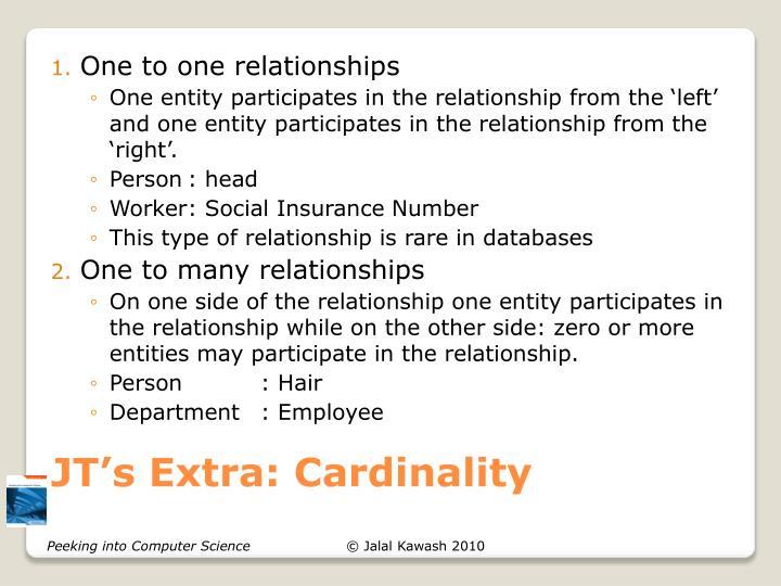 JT's Extra: Cardinality