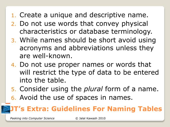JT's Extra: Guidelines For Naming Tables