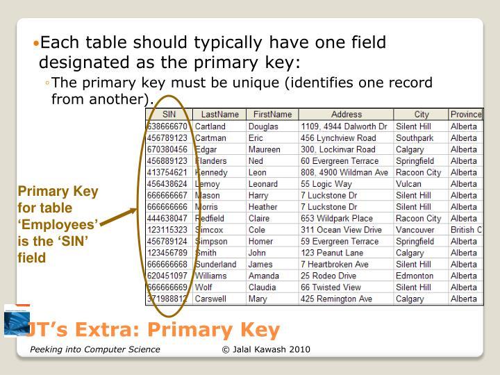 JT's Extra: Primary Key