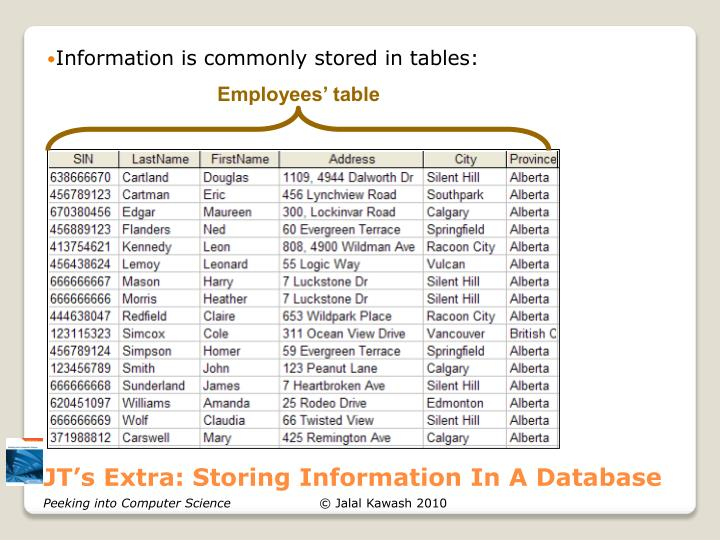 JT's Extra: Storing Information In A Database