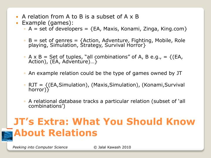 JT's Extra: What You Should Know About Relations